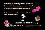 Folder da Ministério da Saúde do México, com informações sobre o hábito de lavar as mãos. Palavras-chave: Gripe. H1N1. Pandemia. México. Escola. Fôlder.