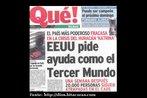 """Imagem com uma manchete publicada no jornal espanhol Qué!, sobre o furacão Katrina. Palavras-chave: Katrina. Folhas. Notícia. Manchete. Confira a sugestão de prática """"¿Katrina? No. Su verdadero nombre es otro."""" - http://www.lem.seed.pr.gov.br/modules/conteudo/conteudo.php?conteudo=423"""