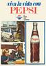 Propaganda antiga da Pepsi, cujo slogan é: A bebida da cordialidade. Palavras-chave: Propaganda. Pepsi. Argentina. Carro. Juventude. Ideia.