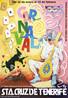 Cartaz de divulgação do Carnaval de Santa Cruz de Tenerife, cidade localizada nas Canárias, território da Espanha. Palavras-chave: Cores. Propaganda. Turismo. Cultura. Descrição. Festa.