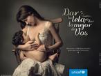 Cartaz de uma campanha da Unicef Argentina em prol do aleitamento materno. Palavras-chave: Propaganda. Alimento. Maternidade. Amor. Contato. Criança. Nutrição. Saúde. Linguagem não verbal.