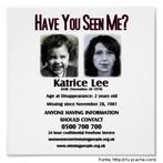 Cartaz com retratos (real e projeção) e informações sobre uma menina desaparecida.  Palavras-chave: crime, desaparecimento, mulher, idade.