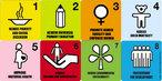Cartaz da ONU mostrando as metas de desenvolvimento do milênio. Aparecem os símbolos escolhidos, e as expressões indicativas de cada objetivo.  Palavras-chave: planejamento, humanidade, desenvolvimento, ser humano, ONU.