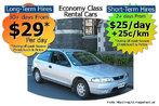 Foto de um anúncio de uma locadora de carros, veiculado em revista ou jornal, apresentando informações como preços e opções.  Palavras-chave: carro, quilometragem, cálculo, economia, aluguel