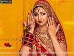 Foto de uma noiva indiana paramentada.  Palavras-chave: noiva, Índia, paramento, casamento, valor, casta, sociedade, interculturalidade.