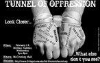 """Cartaz de divulgação de um evento promovido pela Universidade de Washington. Leem-se informações sobre local, horário e data. Além disso, entre outras expressões, lê-se a frase: """"O que mais você não consegue ver?"""".  Palavras-chave: racismo, sexismo, preconceito, violência, opressão."""