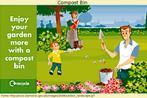 Propaganda estimulando o uso de composteiras (compost bin), equipamento simples que reduz a produção de resíduos e auxiliar na reutilização do lixo para beneficiar o plantio em jardins e hortas sem degradar o meio ambiente.  Palavras-chave: Environment. Compostagem. Família. Reciclagem.
