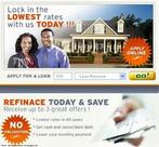 Oferta feita por uma empresa de empréstimo norte-americana. Prometem-se as menores taxas. Na propaganda, aparece a foto de um casal sorridente, e de uma casa grande. Palavras-chave: Oferta. Empréstimo. Hipoteca. Mercado imobiliário. Economia.