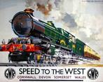 """Cartaz do National Railway Museus, mostrando um trem em movimento, com a inscrição """"Speed to the west"""", que pode se relacionar com a exploração econômica e ocupação do Estado do Paraná, período em que foi bastante utilizado o transporte ferroviário. Palavras-chave: Trem. Ingleses. Interior. História do Paraná. Colonização."""