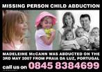 Cartaz de divulgação da campanha de busca da menina inglesa Madeleine McCann, desaparecida em Portugal em 2007. Palavras-chave: Verbo. Tempo verbal. Números. Flyer. Descrição. DAta. Números.