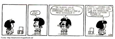Qual a principal característica da personagem Mafalda? Otimismo demasiado? Pessimismo exagerado? Esperança? Por que ela nunca desiste de falar sobre paz e sobre a saúde do mundo? O que essa personagem de Quino pretende representar?  Palavras-chave: discurso, paz, seggiolina, móvel, cadeira